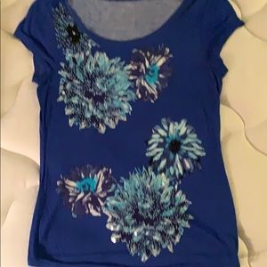 Inc blue floral shirt